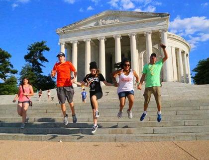 Students Jumping at Thomas Jefferson Memorial