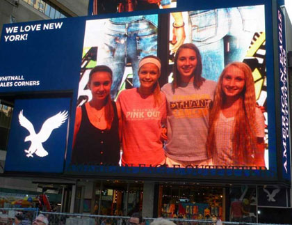 Students on Billboard in NYC
