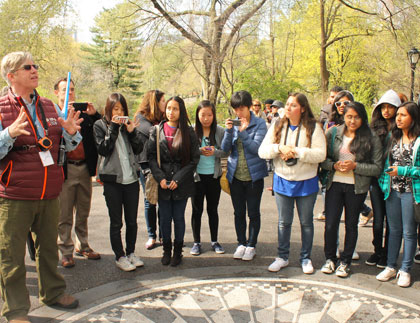Students and Tour Guide at Central Park