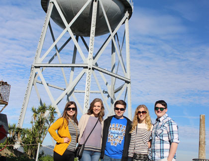 Students in front of the Alcatraz Water Tower
