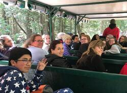 Group in horse drawn carriage