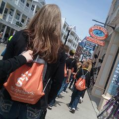 Group walking in downtown Mackinac