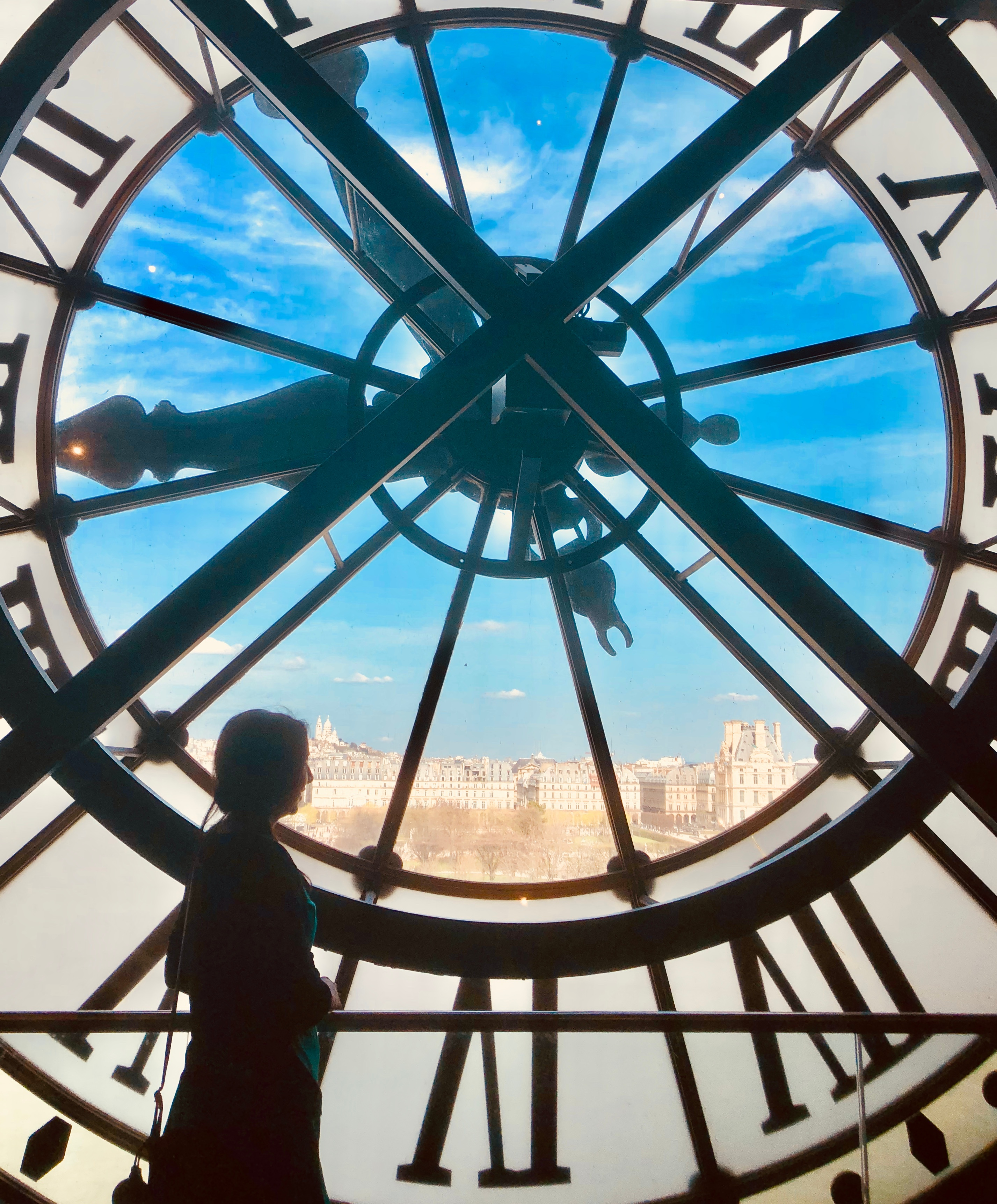 Girl by clock at Orsay Museum