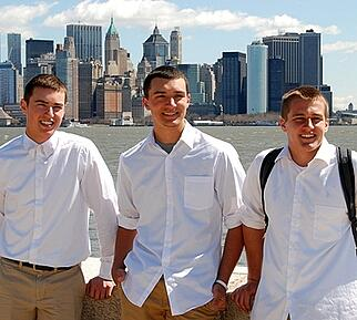 Boys in front of NYC Skyline
